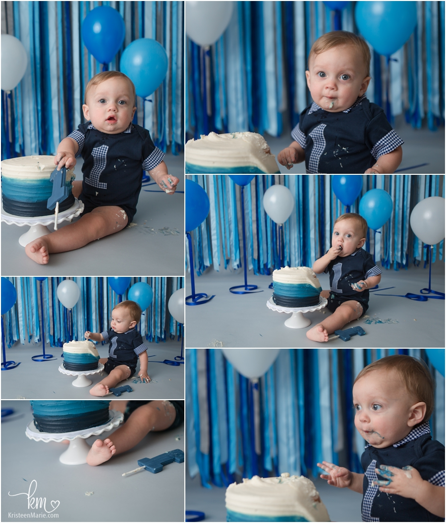 blue and white ombre boy cake smash session for 1st birthday