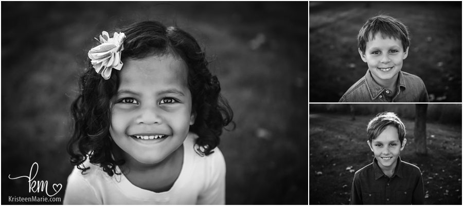 black and white headshots of kids