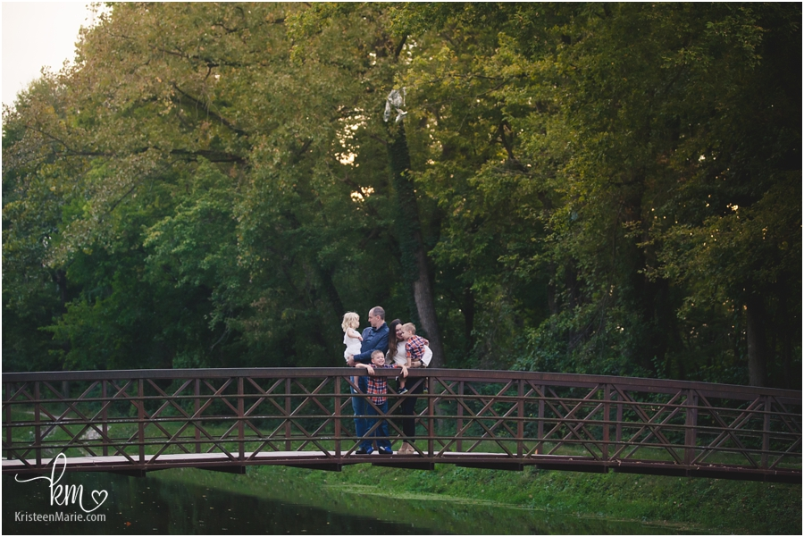 family picture on a bridge in Indianapolis