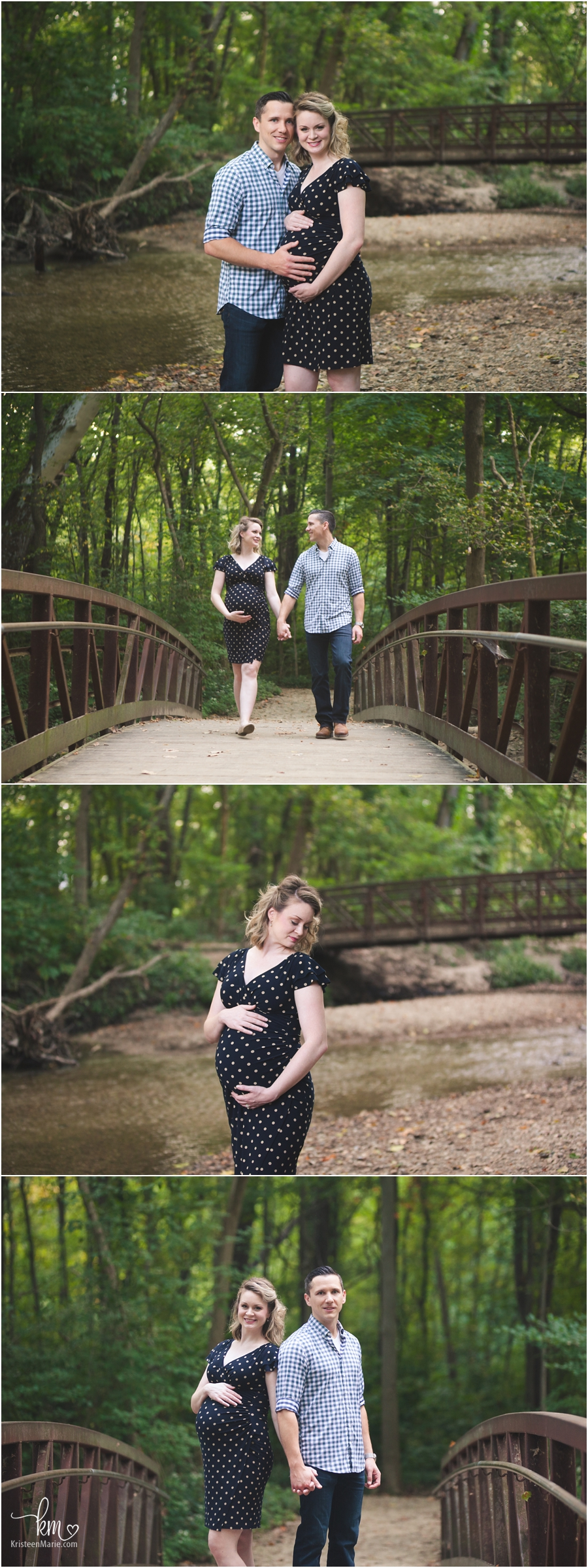 family on creek and bridge for maternity photography session in Indianapolis, Indiana