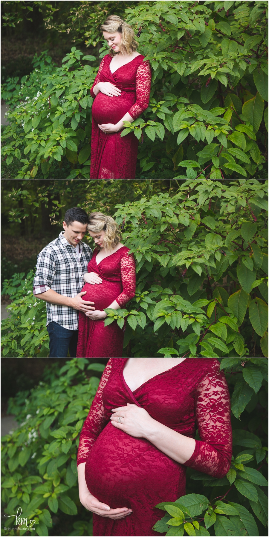 studnning outdoor maternity photography - maternity pictures in red dress floor length