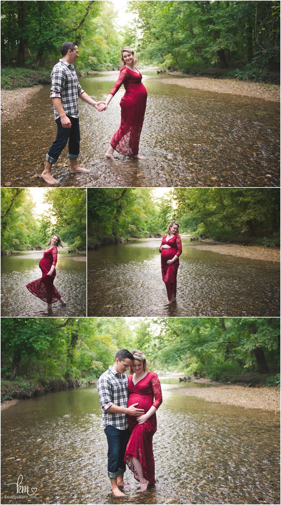 creek maternity photography - couple in water expecting