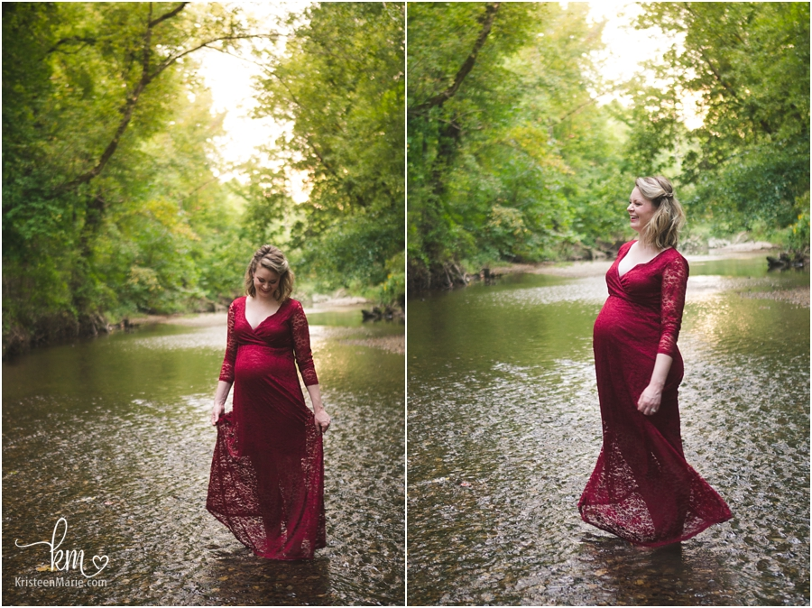 mom-to-be dancing in water with expecting belly
