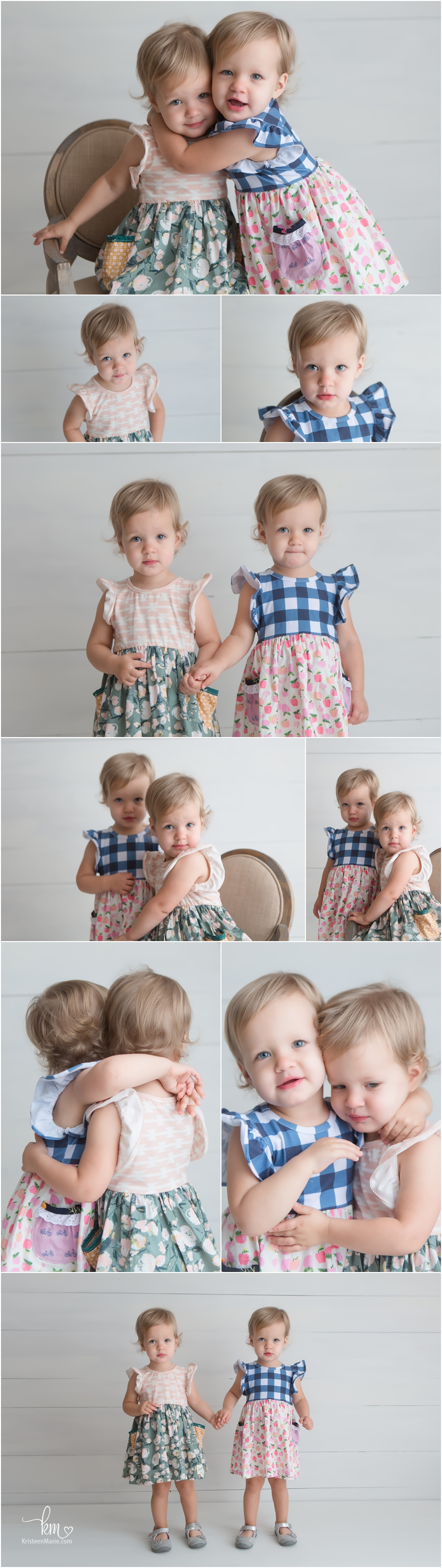 twin girls at 2 years old - milestone session in studio