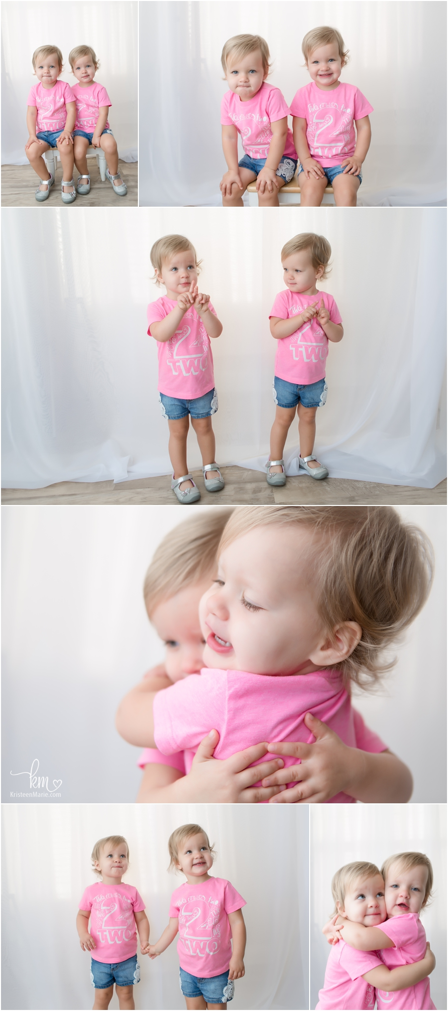 twin girls are two in pink shirts