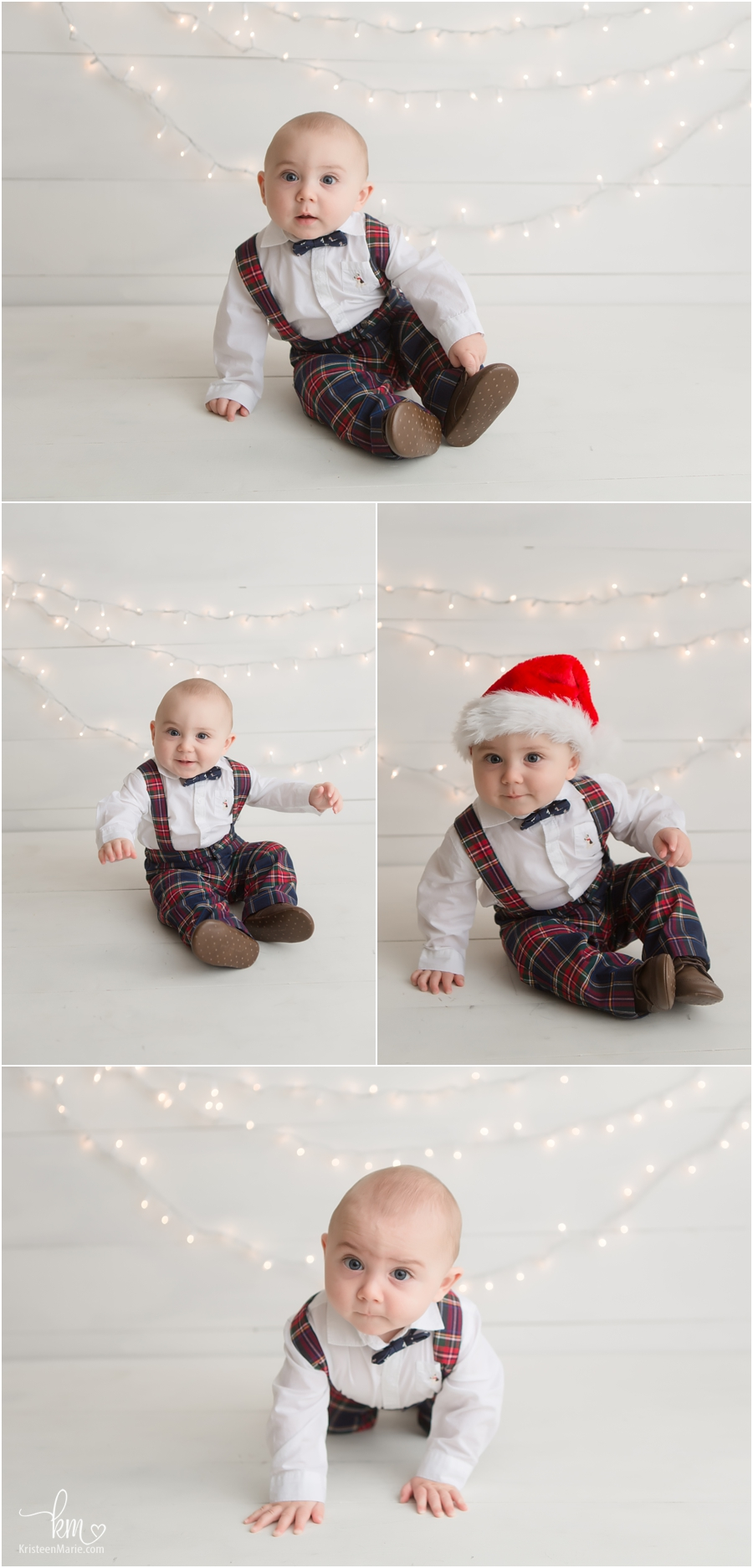 Holiday themed milestone session photography - Christmas lights and hat