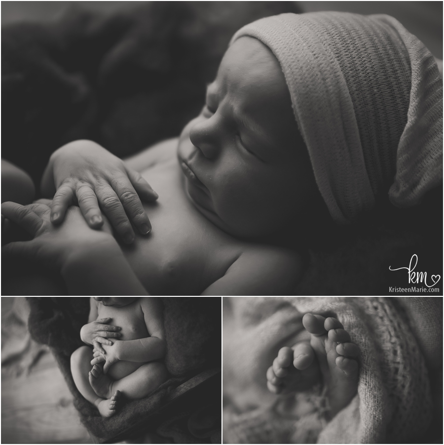 black and white shots of sleeping newborn baby