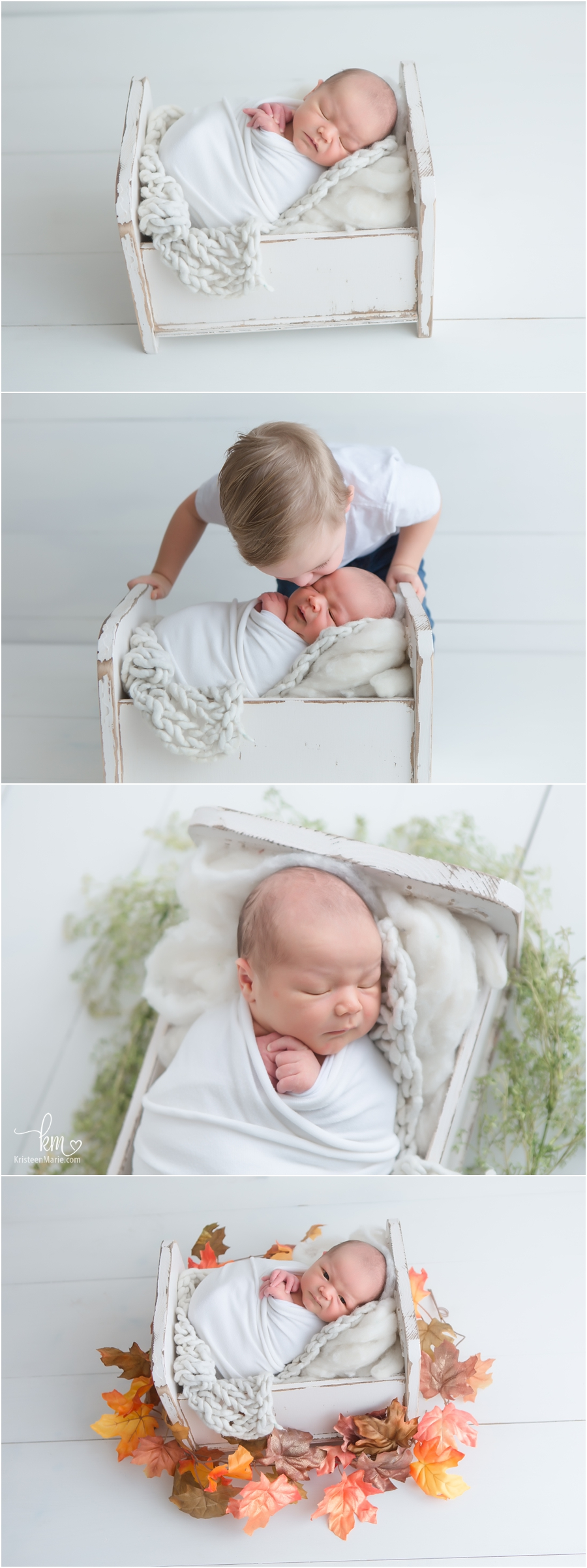 White neutral newborn photography in studio