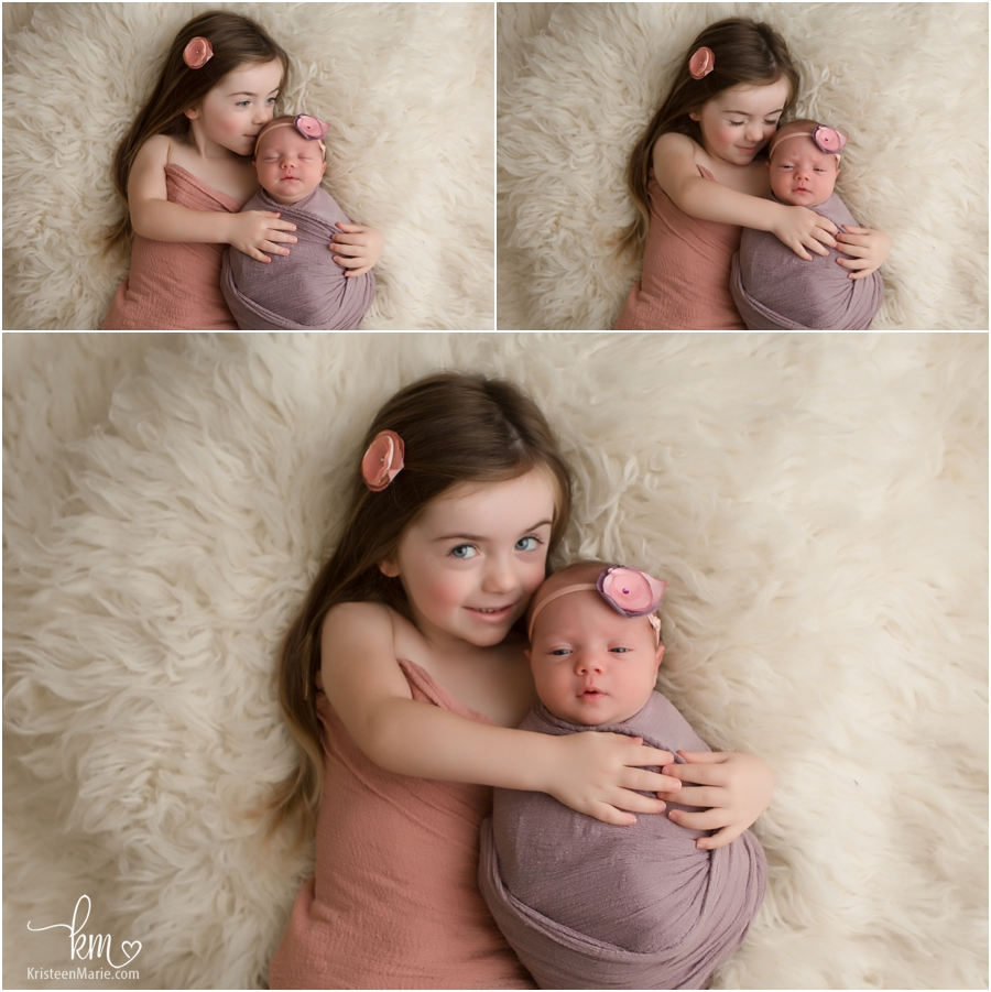 siblings - two sisters - newborn and 3 year old