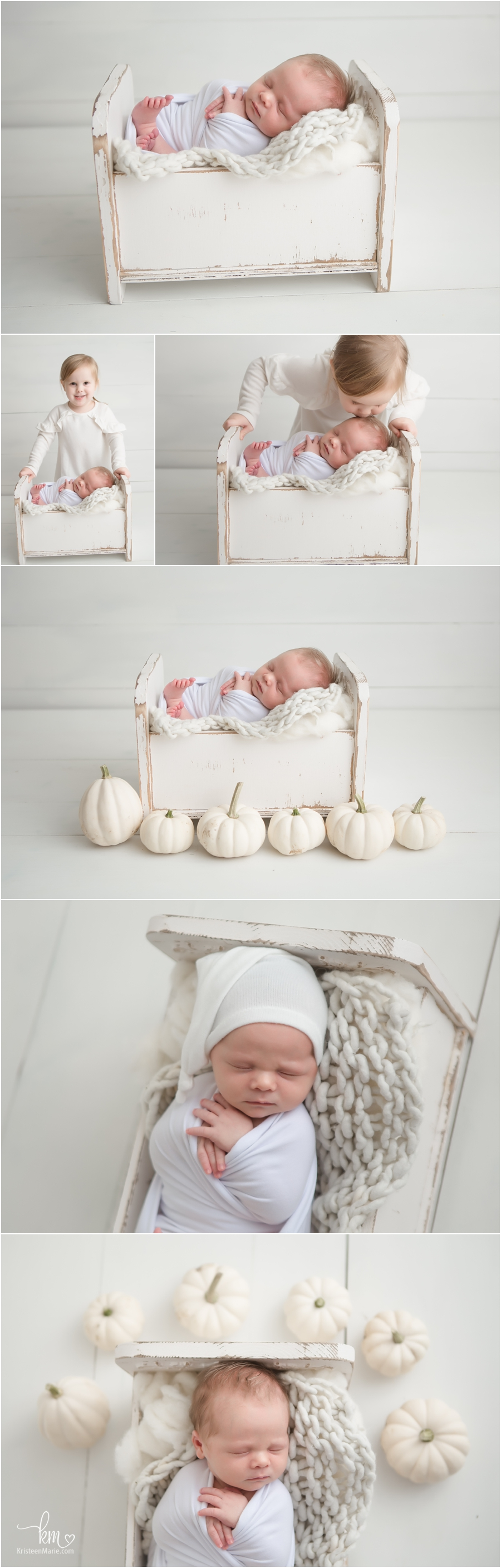 white and cream newborn pictures - siblings and halloween - neutral colors - so sweet!