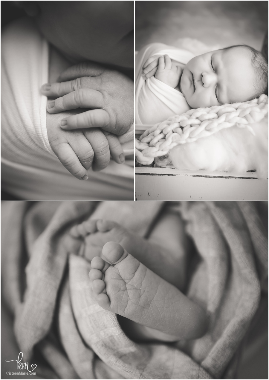 black and white images of newborn baby - Zionsville newborn photography