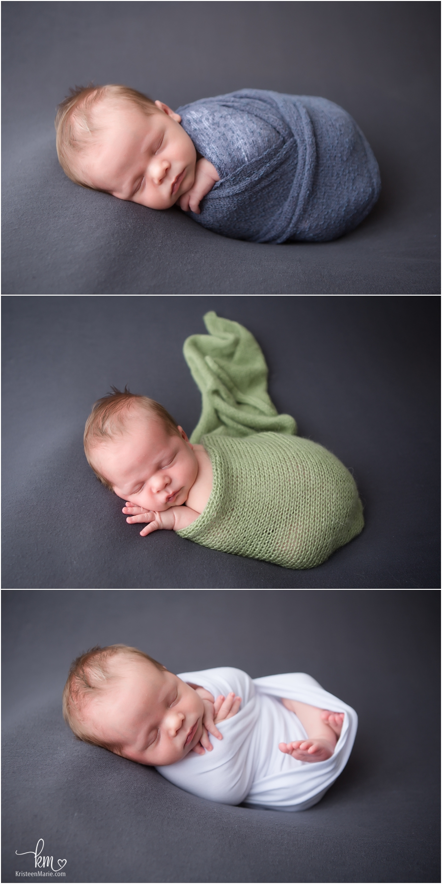 Just the baby - newborn pictures on grey backdrop
