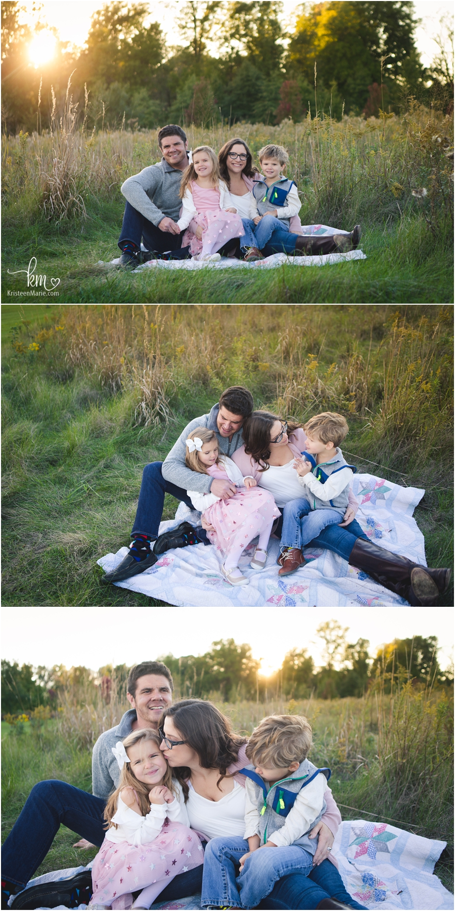 family pictures in a field at sunset