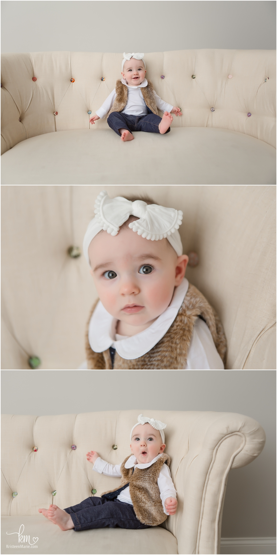 adorable baby on couch in photography studio in Carmel, Indiana