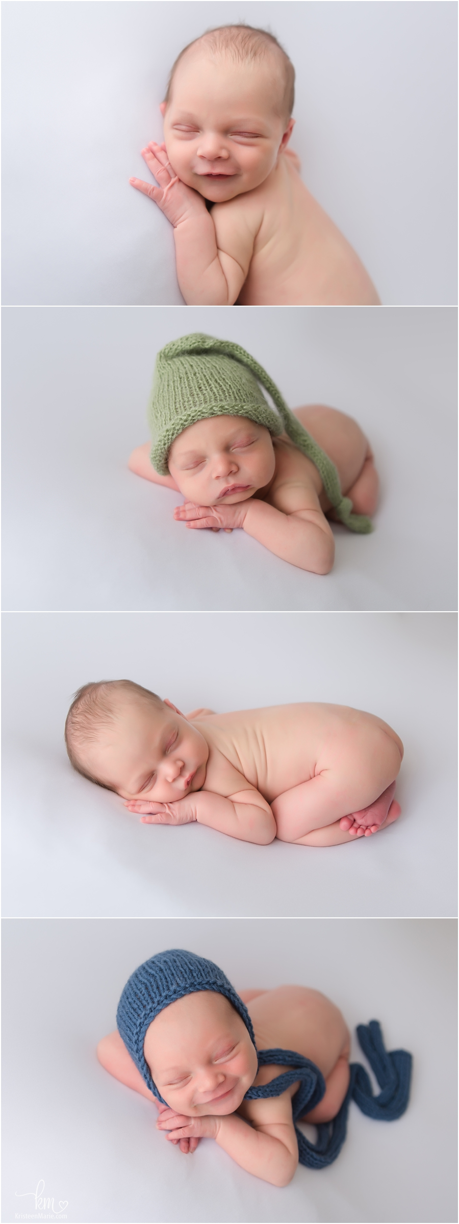Newborn boy photography on white backdrop with accessories