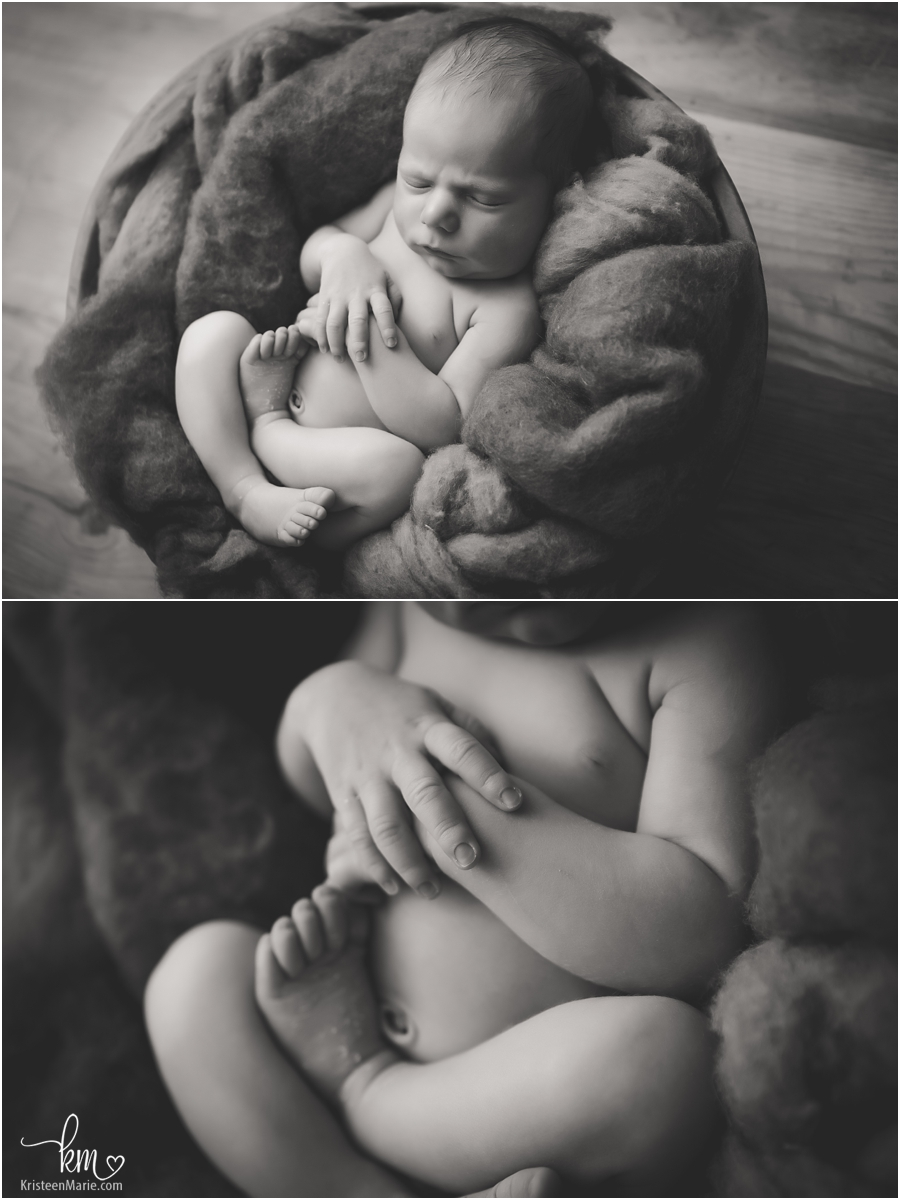 black and white newborn baby pictures - baby features