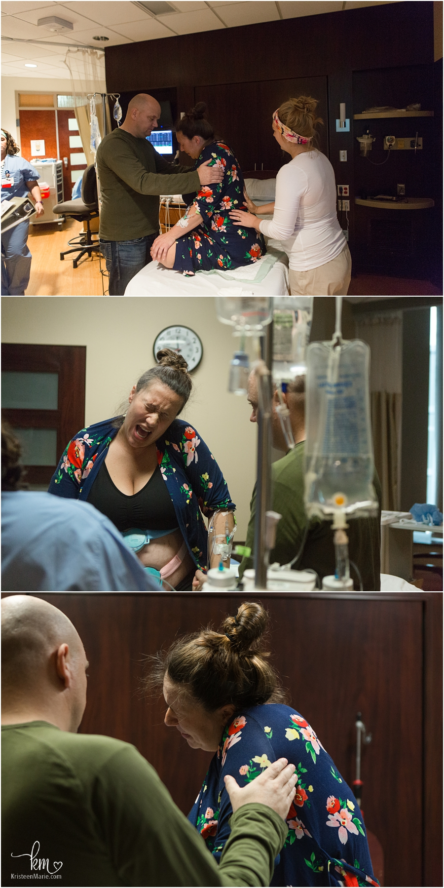 Mom laboring in hospital - Indianapolis birth photography