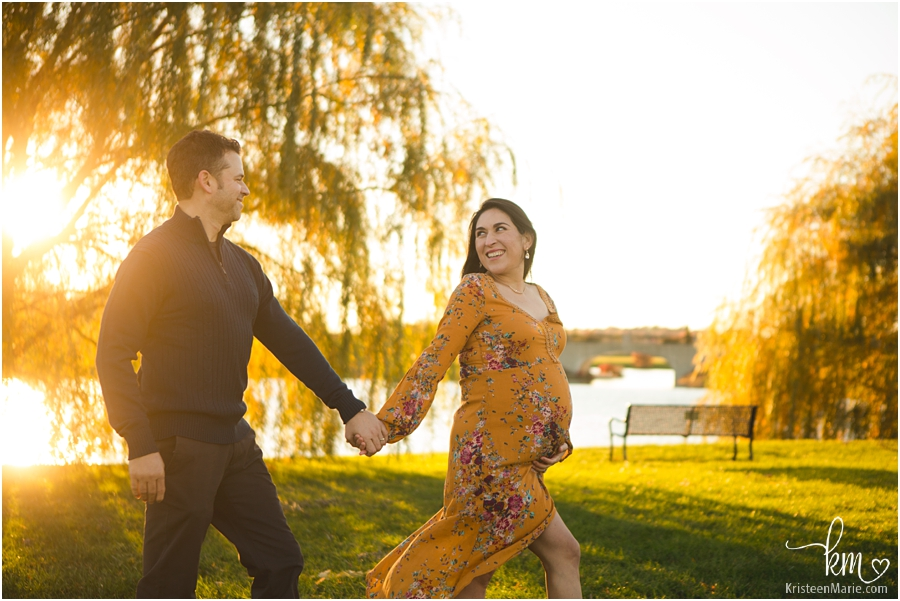 Golden sunset picture in fall for maternity session