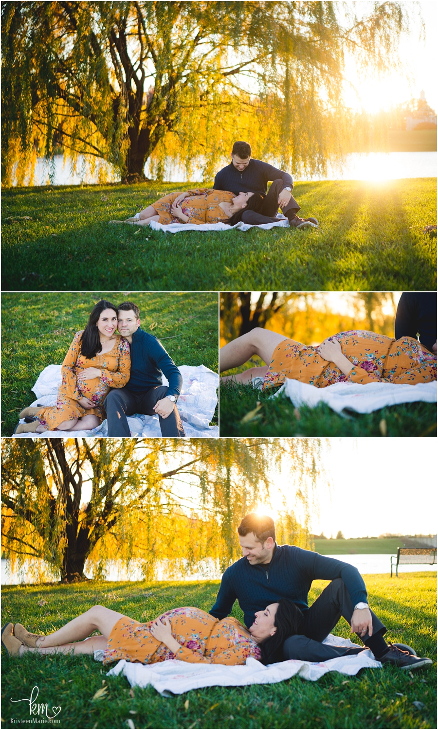 couple under a tree with baby bump - Indy maternity photography at golden hour