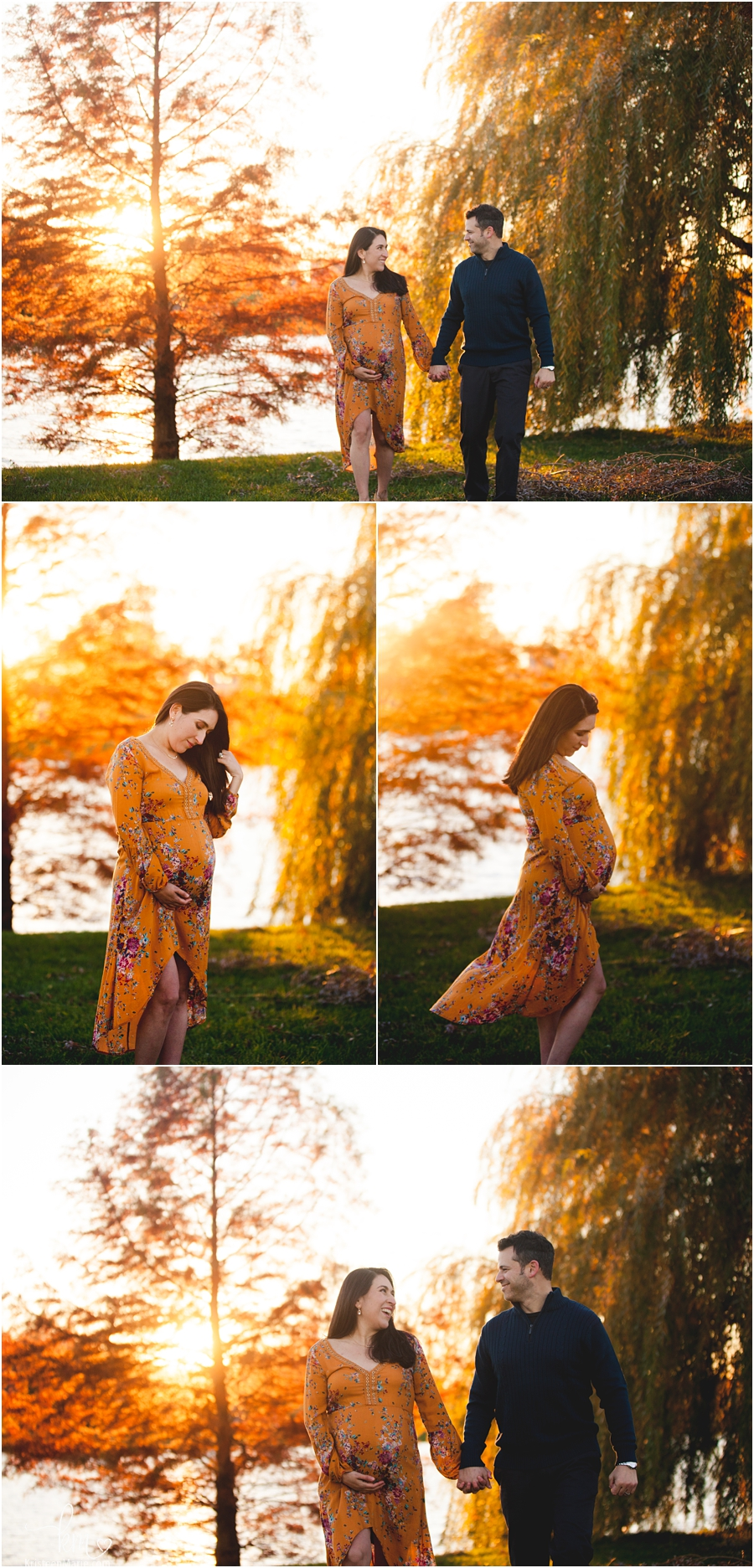 Stunning expecing mama at sunset in Fall - Indianapolis maternity and newborn photography