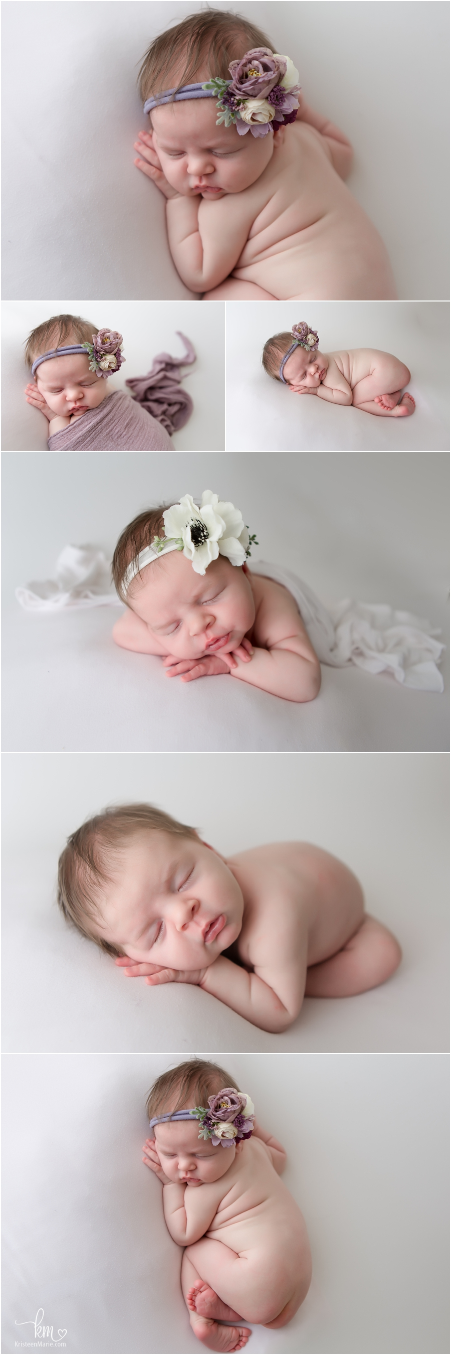 newborn baby girl pictures on whtie backdrop - Indianapolis newborn photography