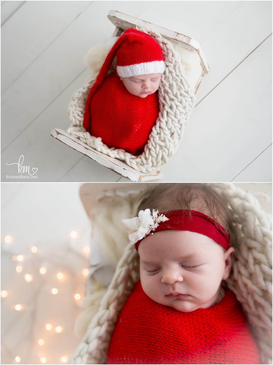 Christmas themed newborn pictures - white Christmas lights