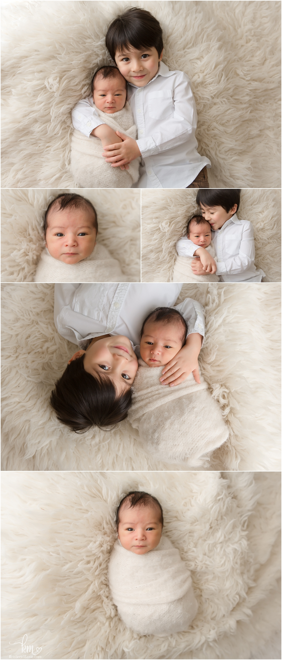 Asian siblings - Indianapolis newborn photography - two brothers - newborn and 4 year old