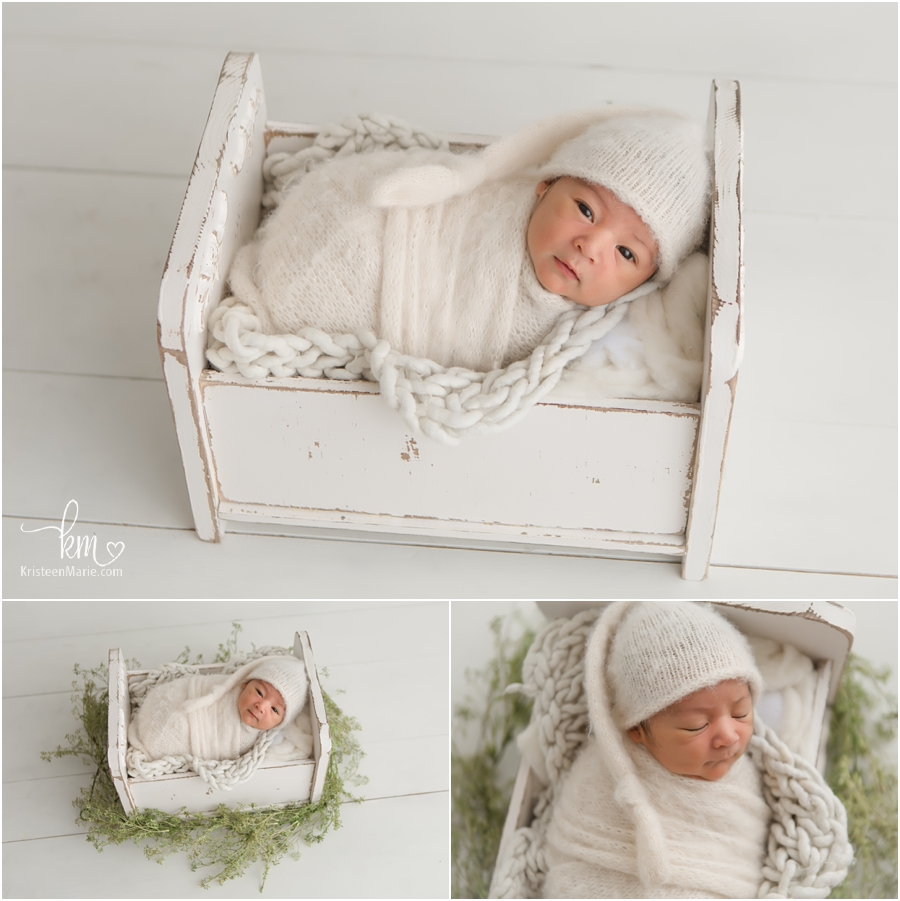 newborn baby boy in neutral tones