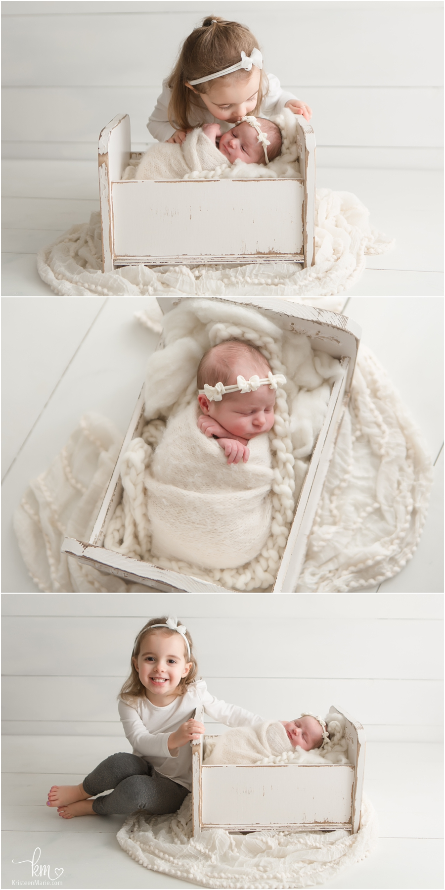 big sister and newborn poses in studio - Carmel, IN newborn photographer