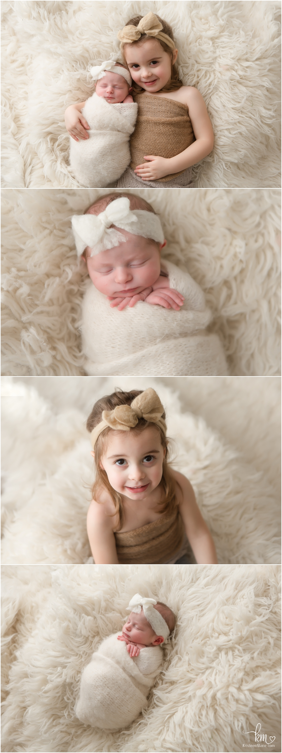 big sister and little sister in neutral colors - Carmel newborn photography