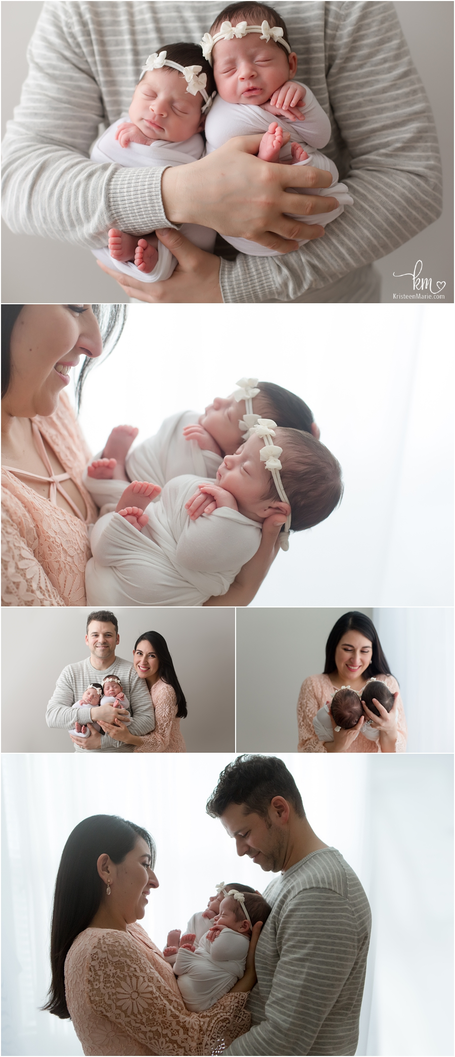 twin newborn parent poses