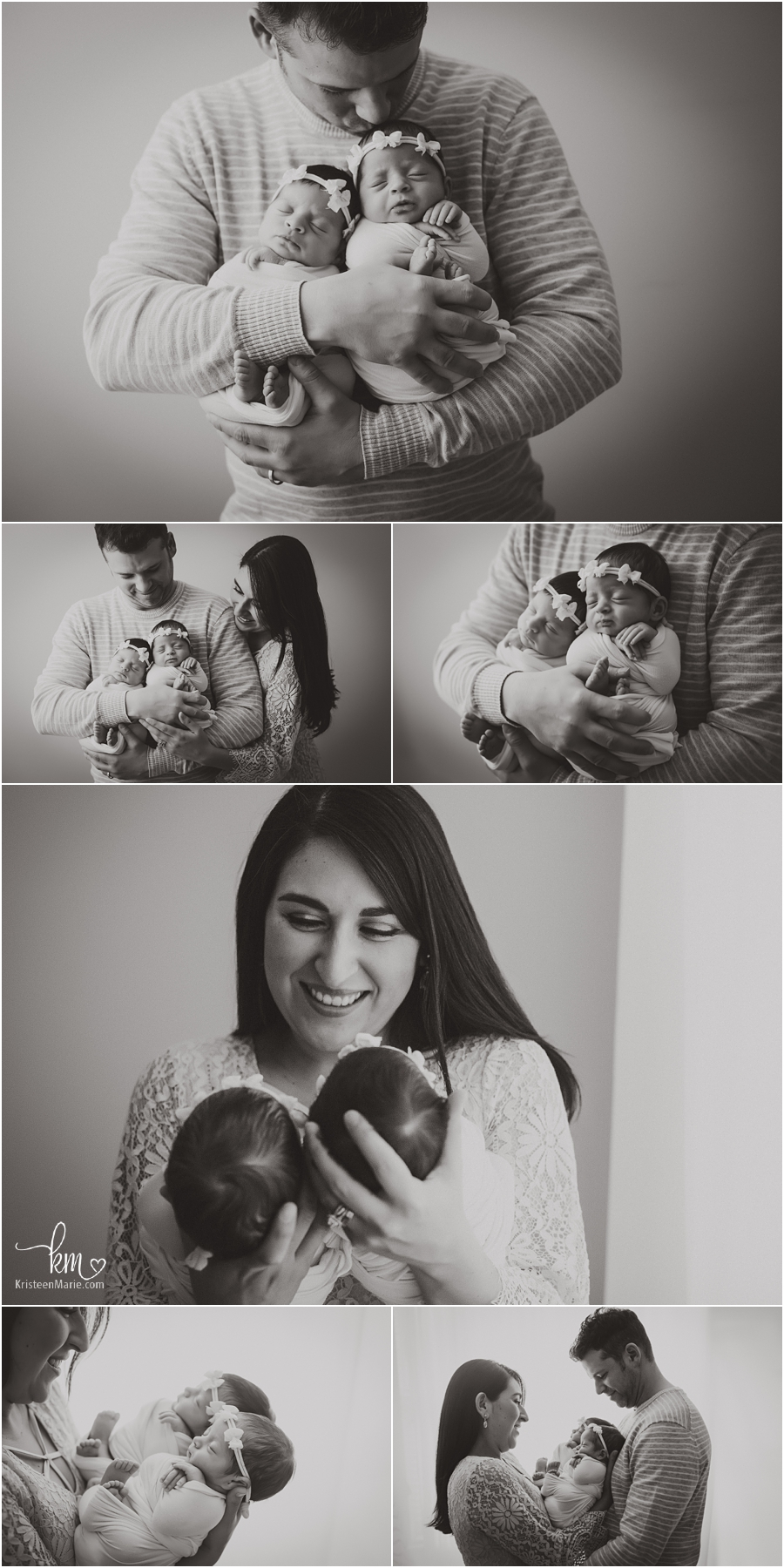 parent and baby shots with twins - Indianapolis twin newborn photographer