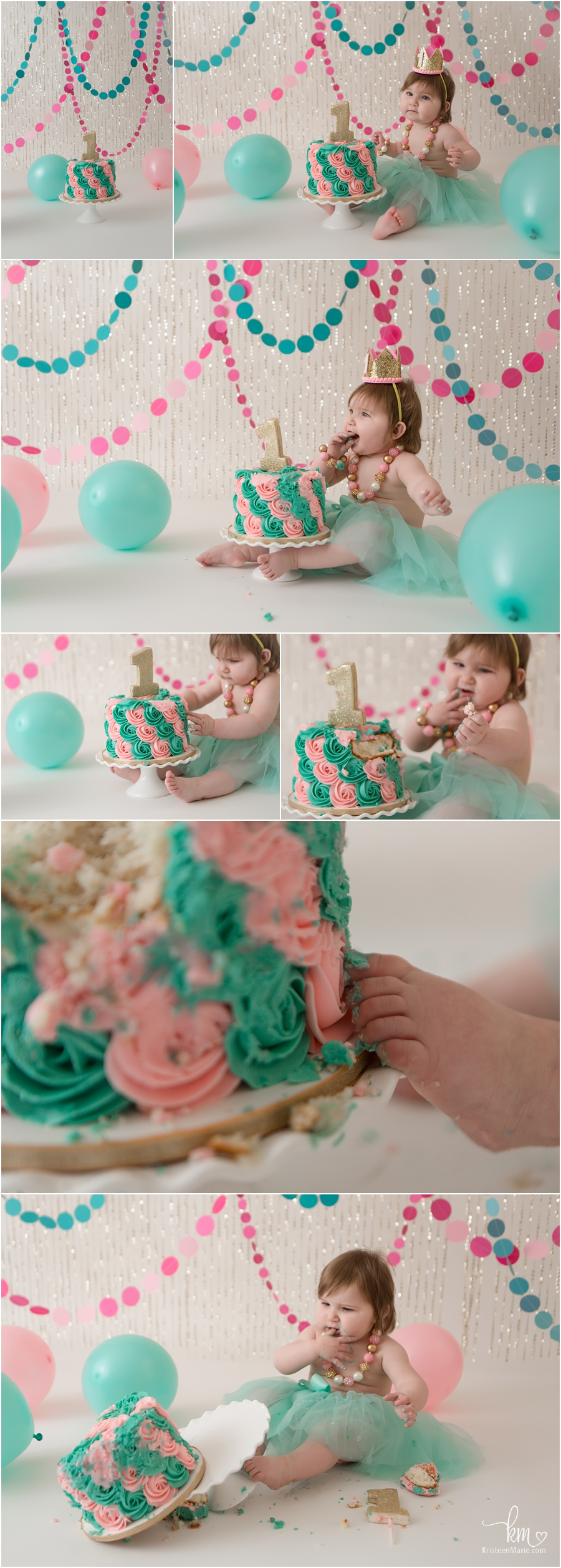 pink and teal 1st birthday cake smash session - photography by KristeenMarie