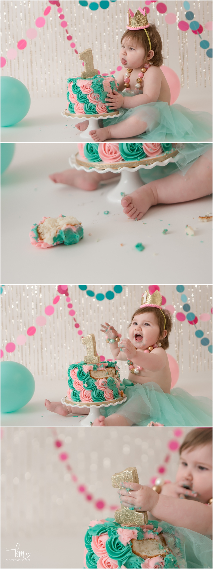 Pink, teal, and gold cake smash session for 1st birthday