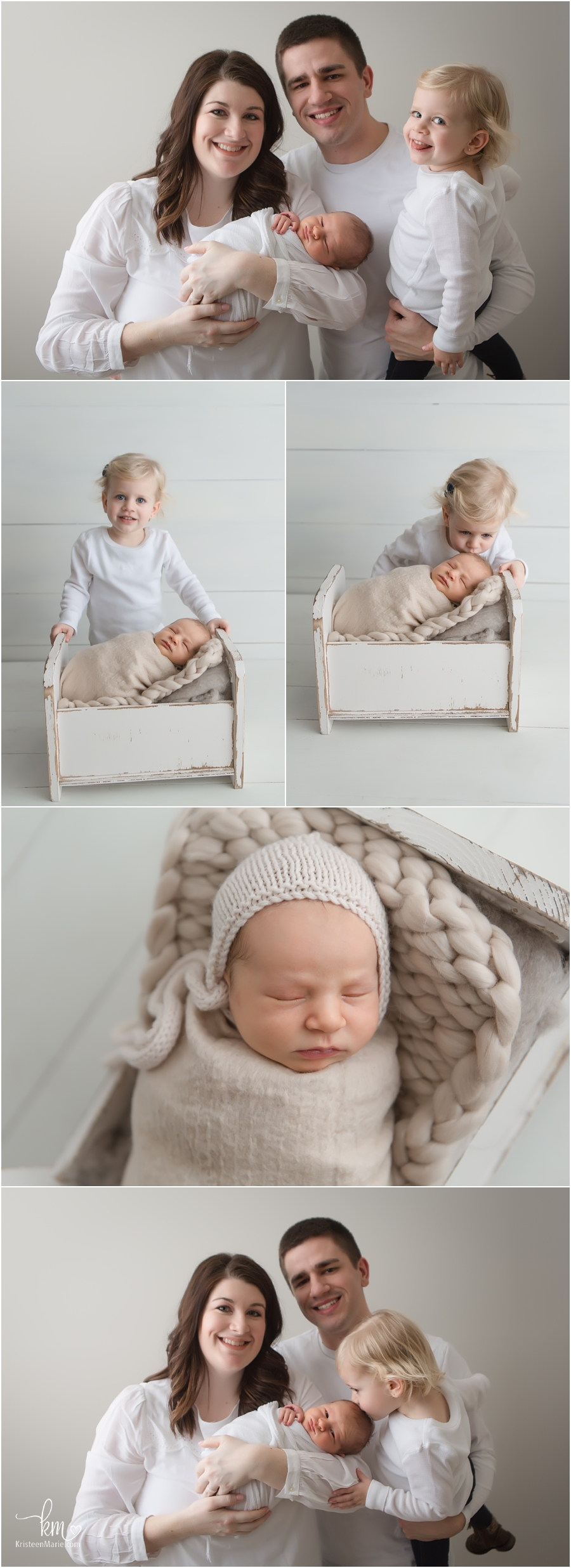 Newborn baby and big sister poses