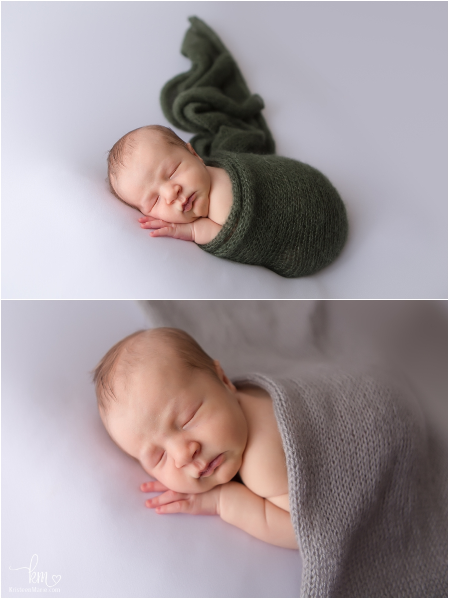 Newborn baby boy on white