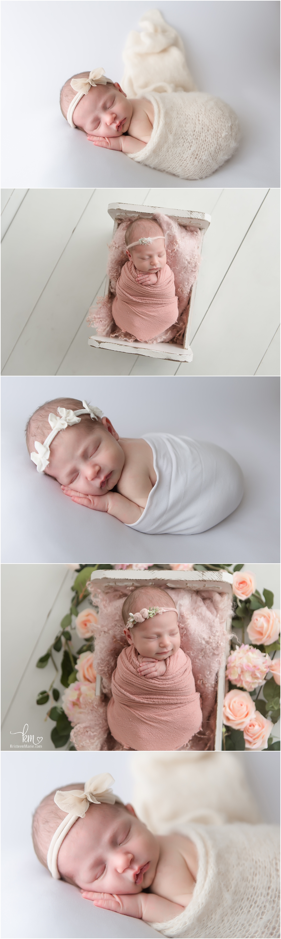 newborn baby girl on neutral backdrop - simple newborn poses