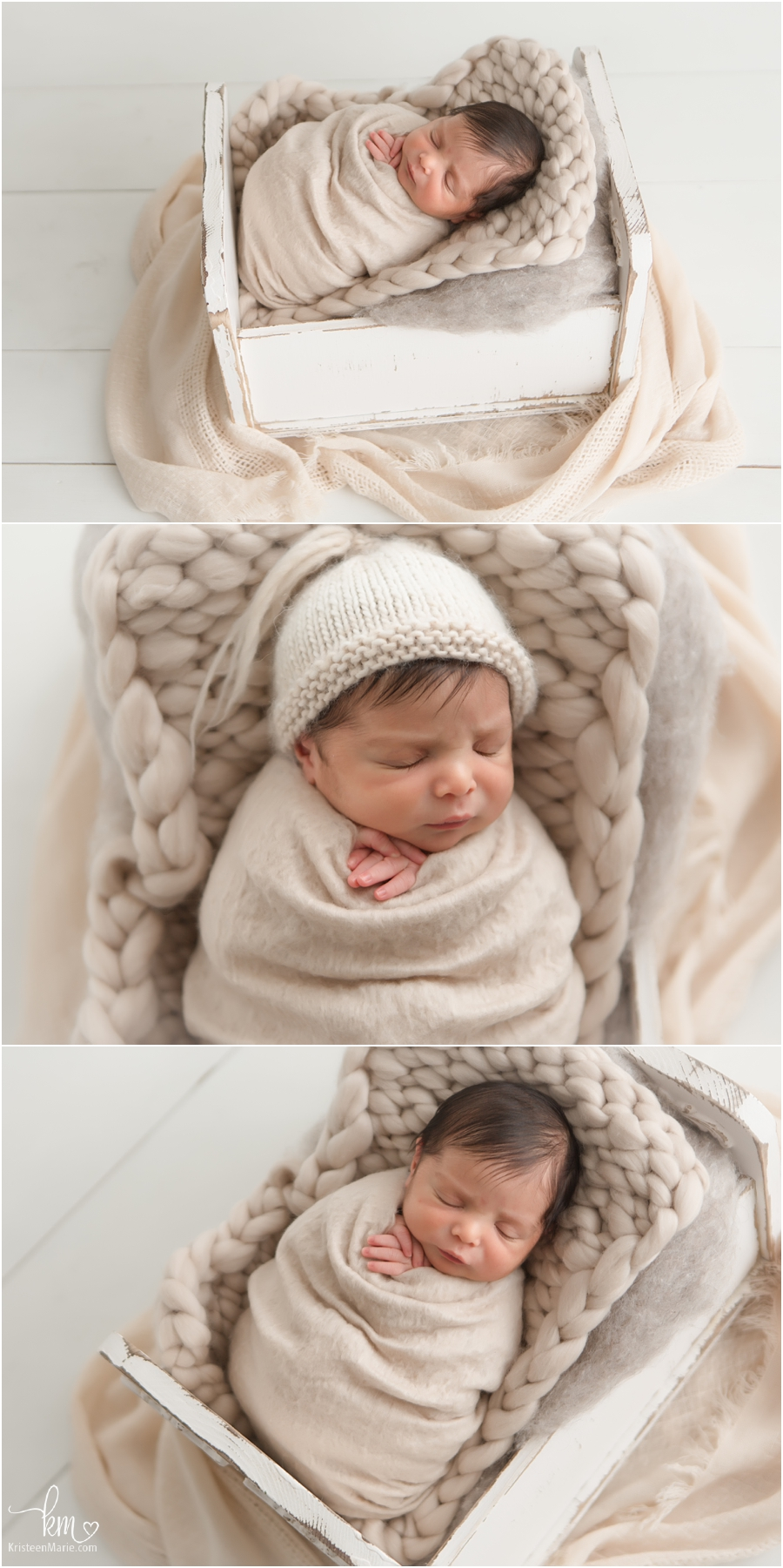 newborn baby boy on neutral tones