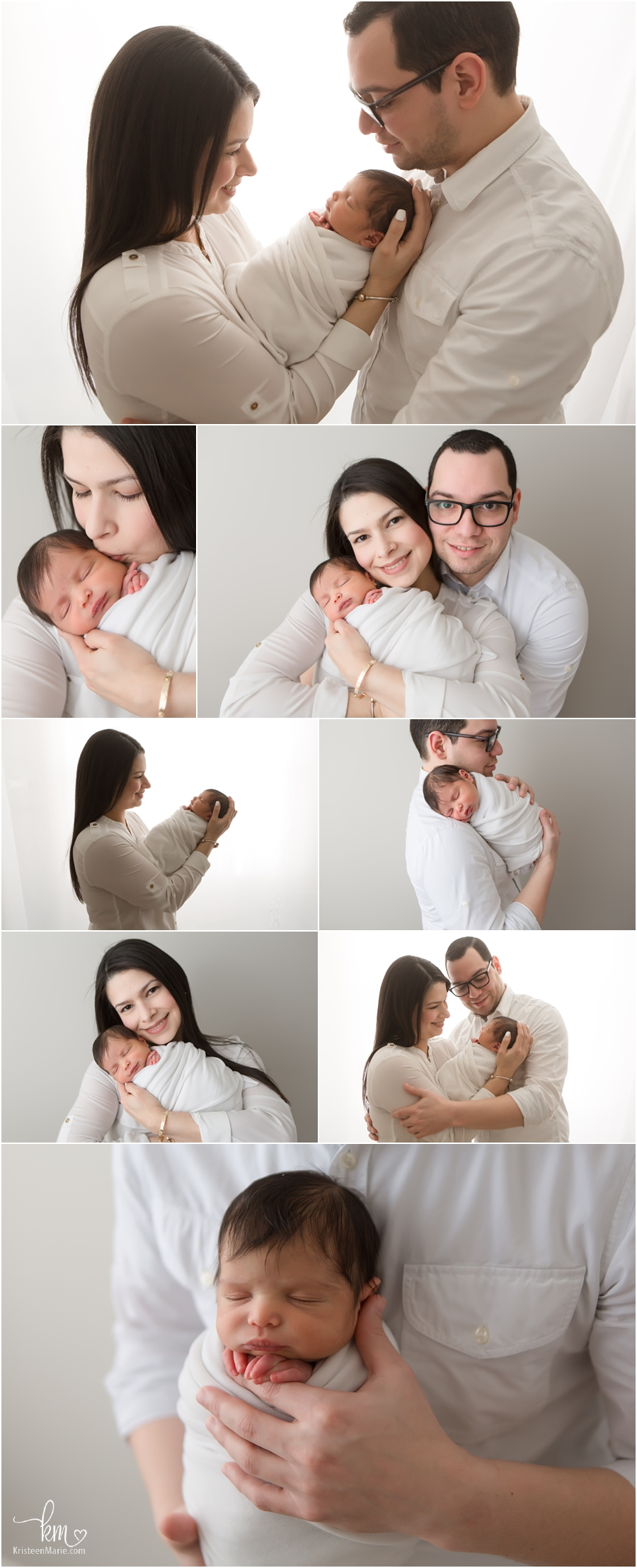 parents with newborn baby from Zionsville, IN - newborn family pictures and poses - so sweet on neutral backdrop