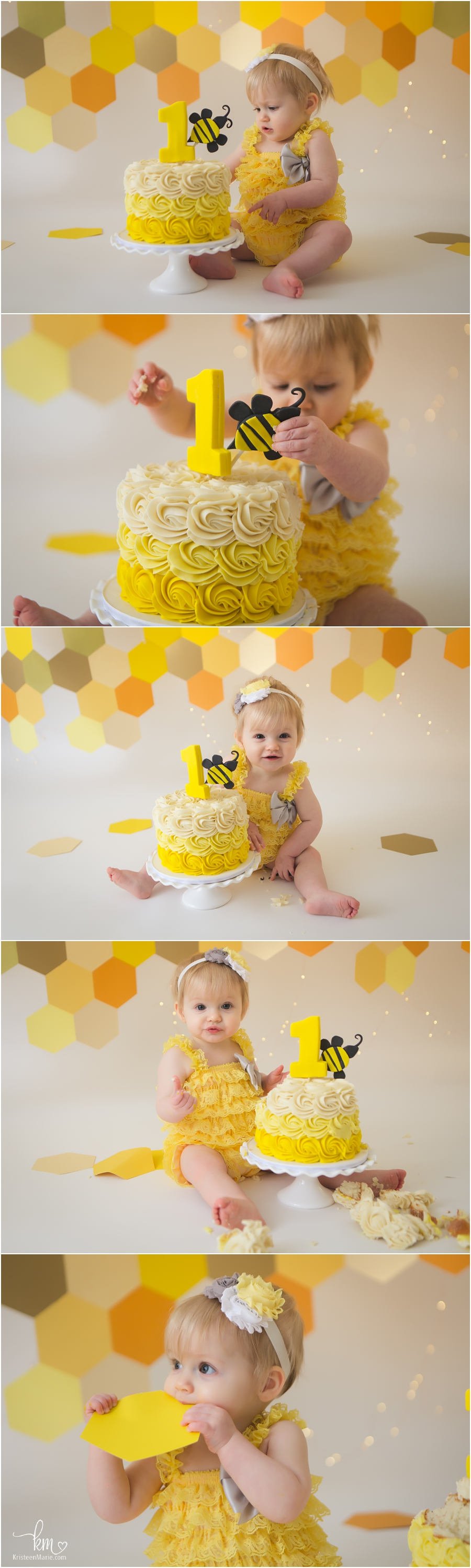 Bee themed cake smash session - yellow and orage with twinkle lights