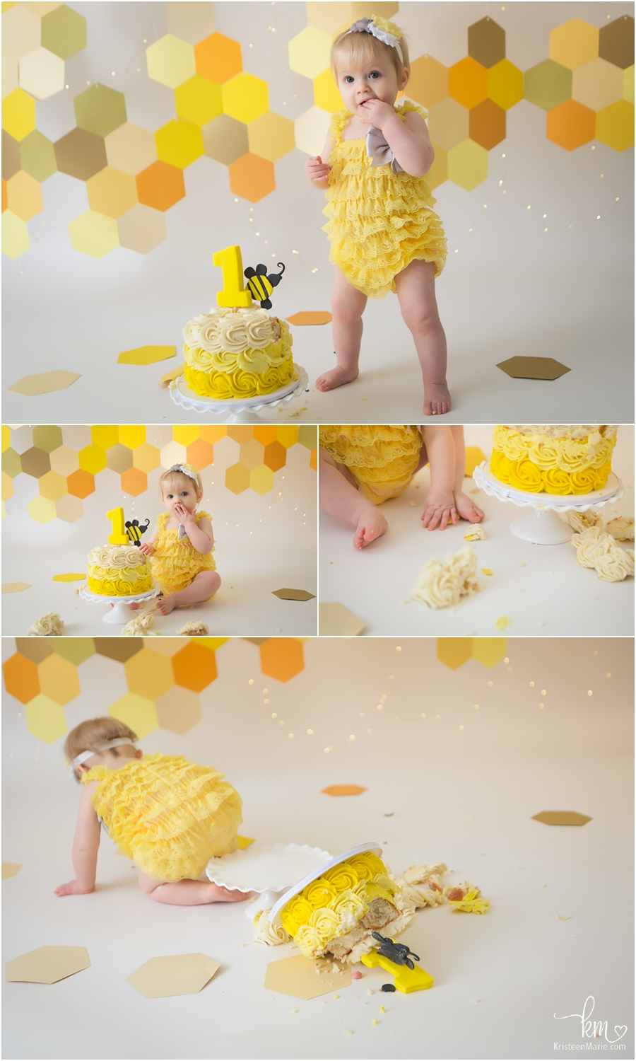 1st birthday cake smash session bee themed