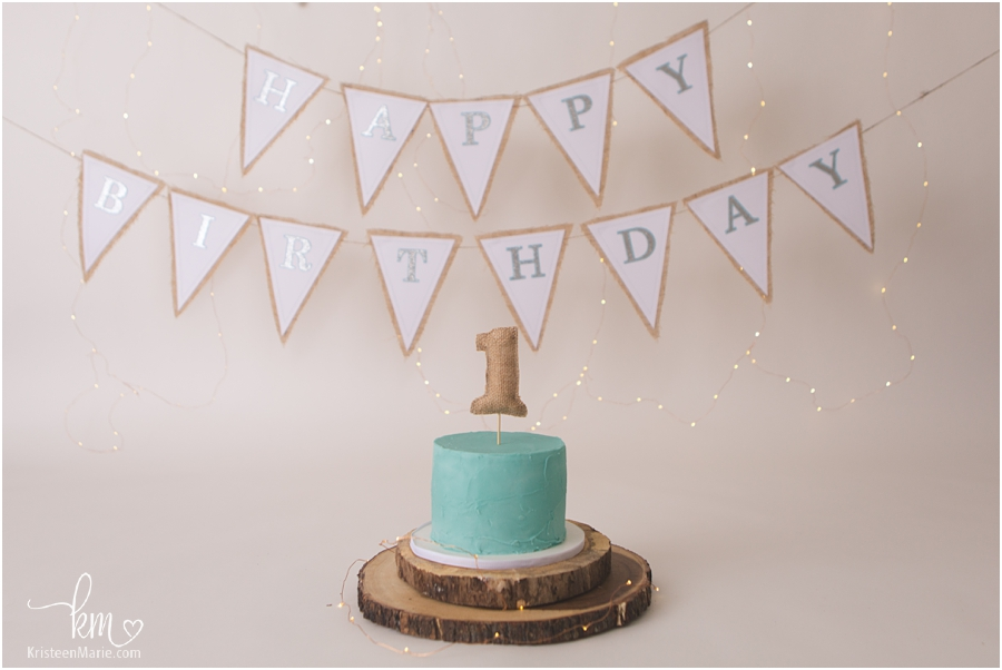 1st birthday cake - blue and burlap