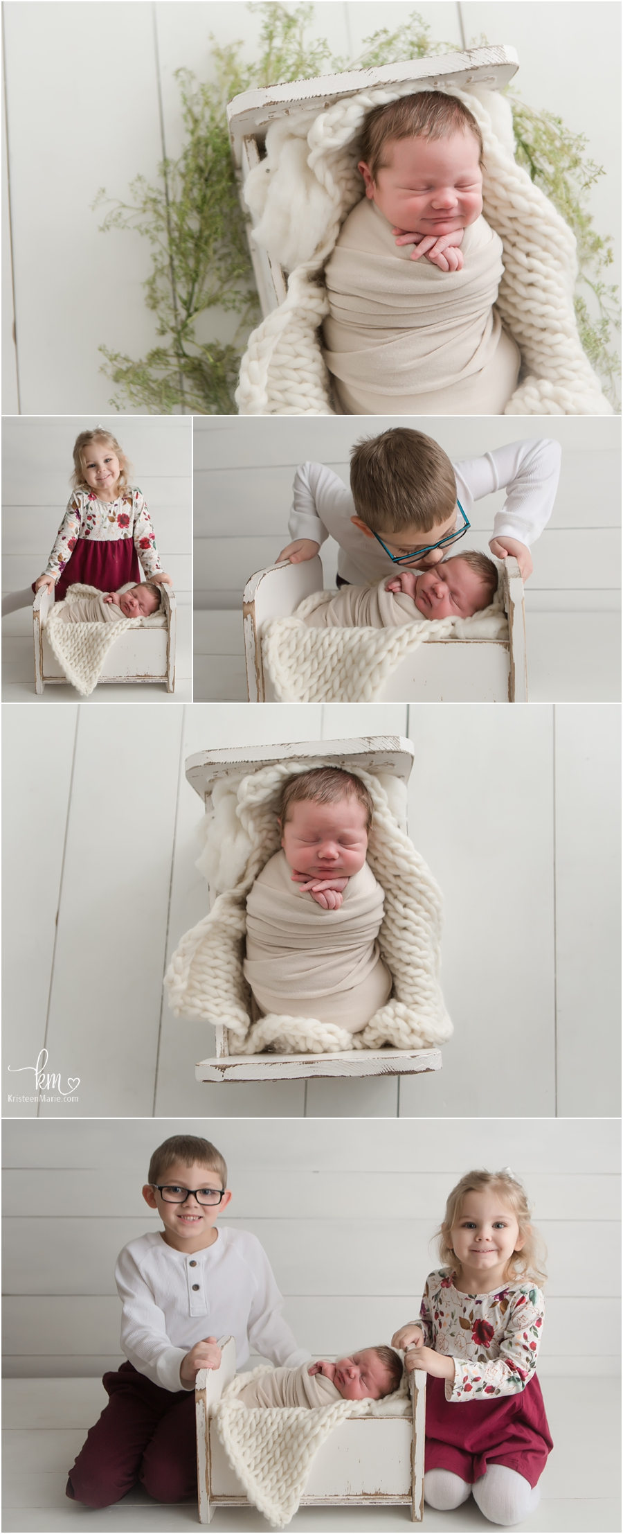 newborn baby with siblings - sibling newborn photographer poses