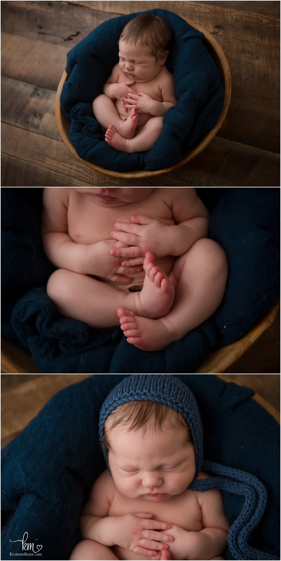 newborn baby boy on dark wood backdrop - Indianapolis newborn photography