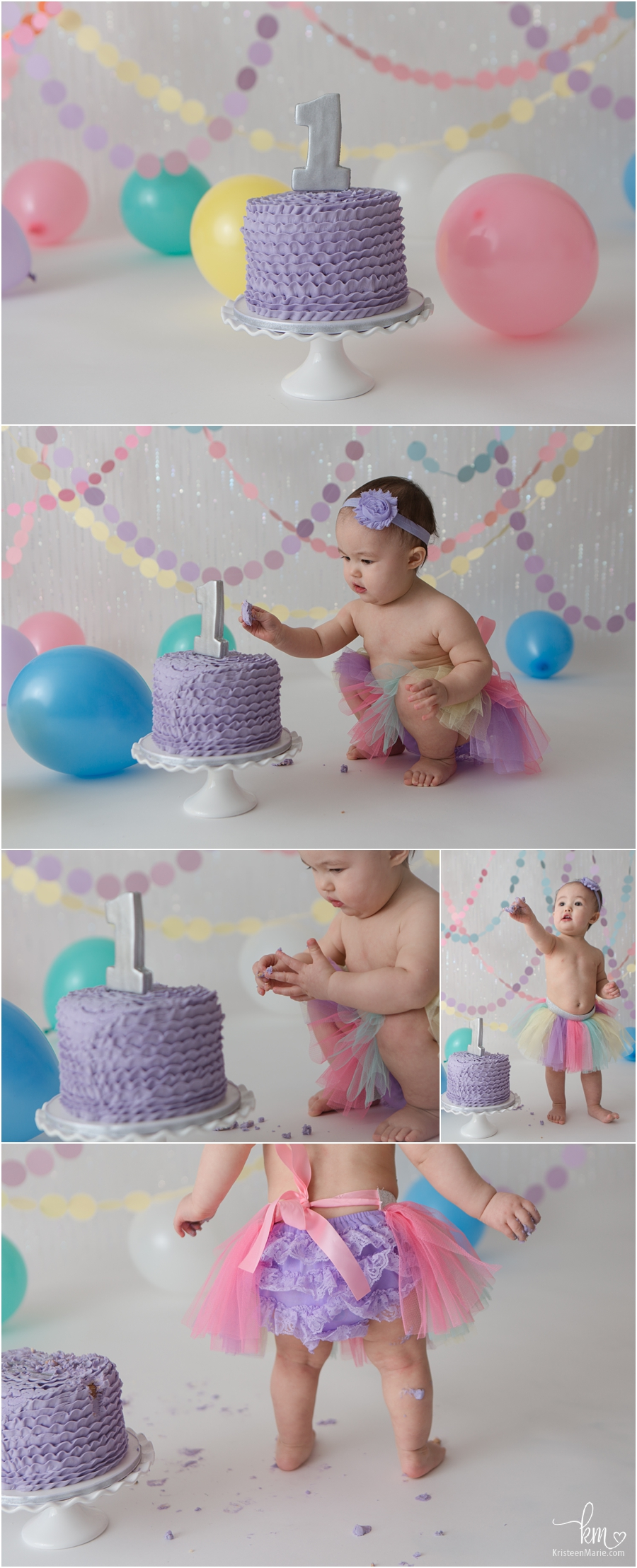 pastel rainbow 1st birthday cake smash