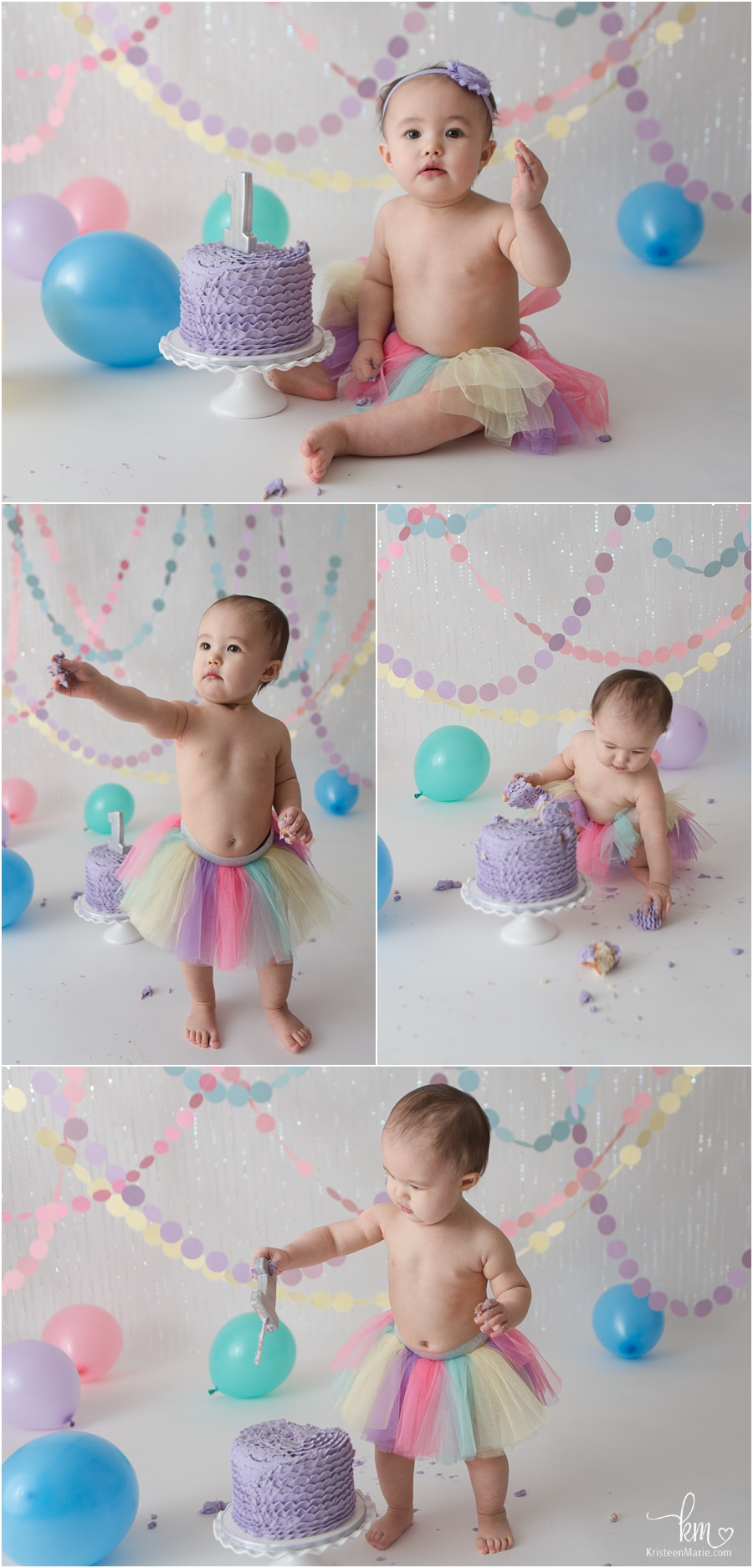 1st birthday pastel rainbow theme - cake smash session in Indianapolis, IN