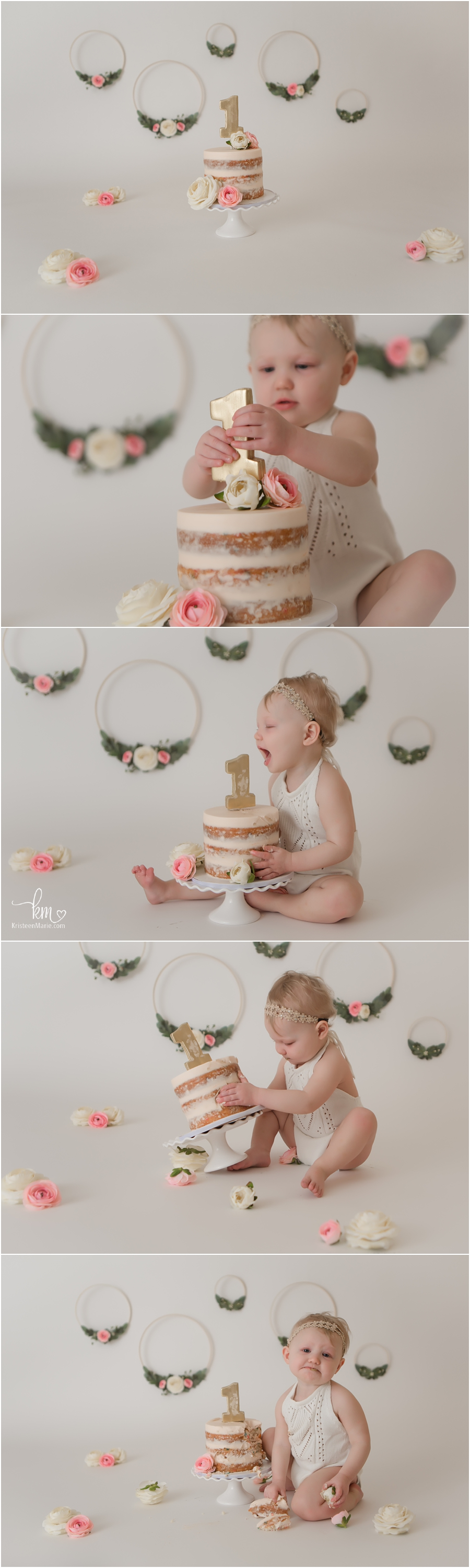 Boho themed first birthday cake smash session with floral hoops in pink and green