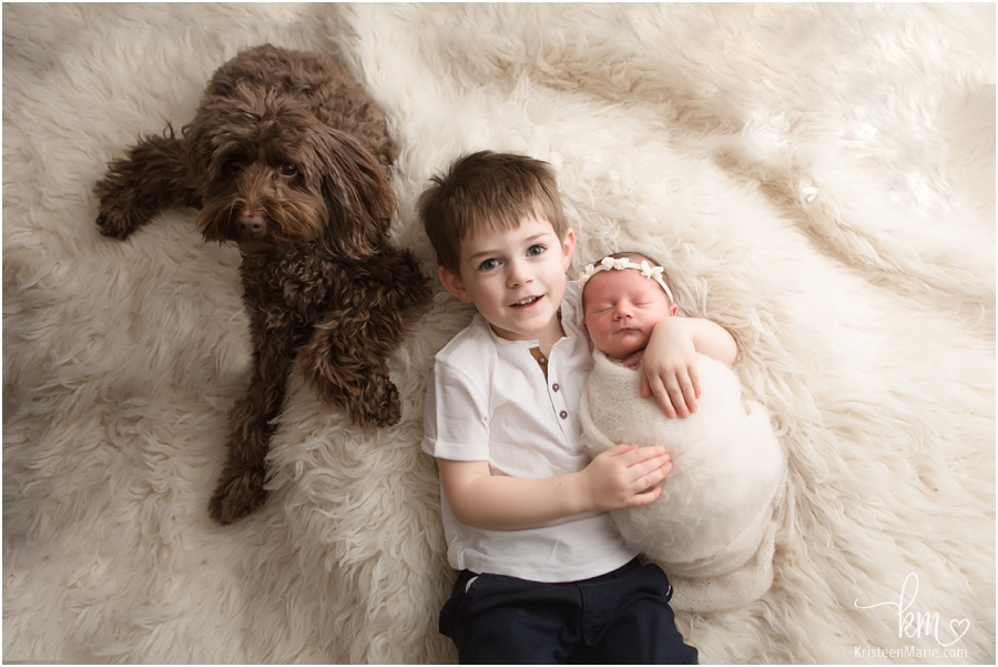 two kids and a dog - Indianapolis newborn photography