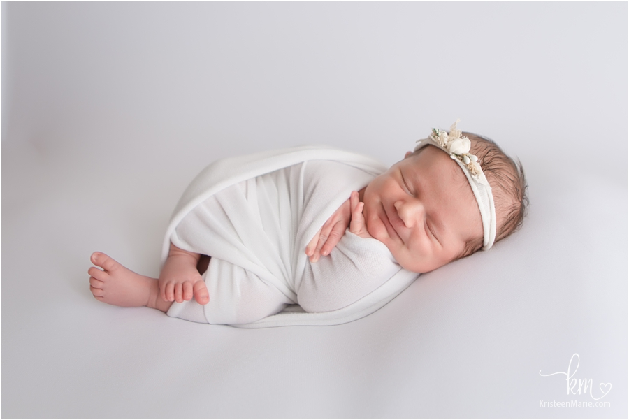 Indianapolis newborn photography - newborn baby girl in white