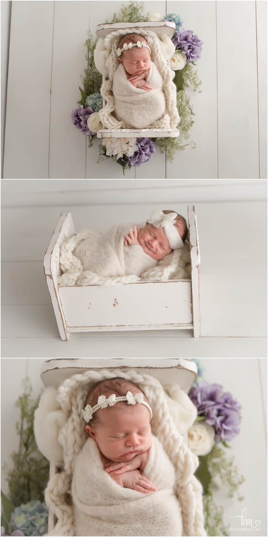 Timeless newborn photography in studio - Indianapolis photography sutdio - newborn girl with purple and blue flowers and cream backdrop